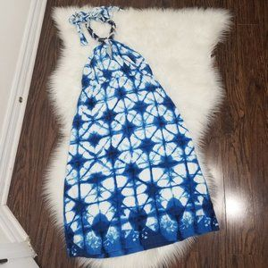 Boston Proper | Blue Shibori Dyed Halter Dress 2